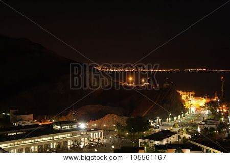 Night View Of The Taba Border Crossing On The Egyptian-israeli Border