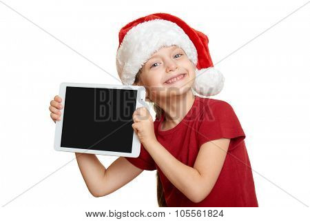 girl in red santa hat with tablet pc, christmas and new year holiday concept