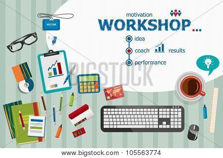Workshop And Flat Design Illustration Concepts For Business