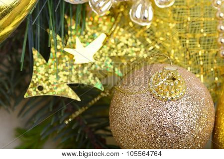 Luxury Gift Boxes Under Christmas Tree, New Year Home Decorations, Golden Wrapping Of Santa Presents