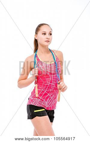 Portrait of a beautiful woman with skipping rope isolated on a white background