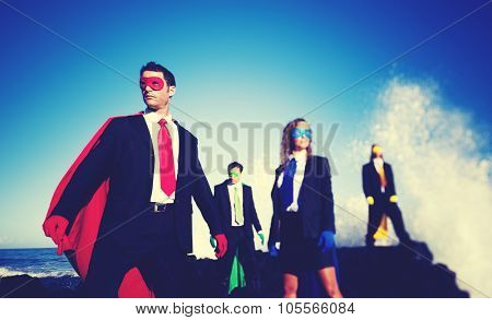 Business superheroes on the beach confident concept