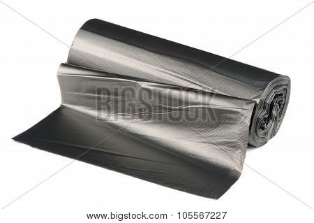 Roll Of Garbage Bags Isolated On White Background