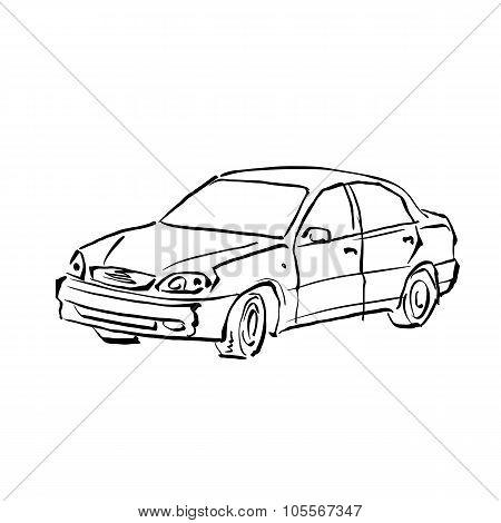 Black And White Hand Drawn Car On White Background, Illustration Sedan.