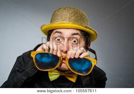 Funny man with vintage hat