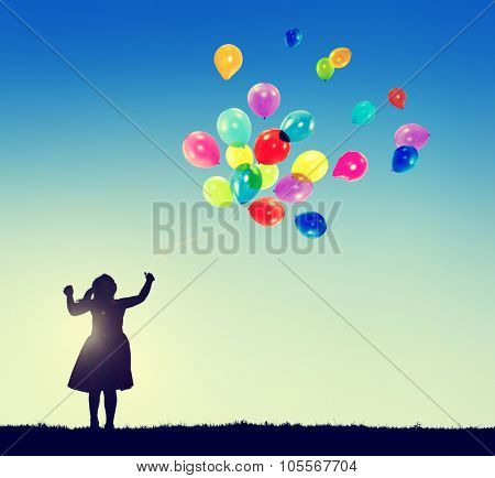 Little Girl Freedom Happiness Imagination Innocence Concept