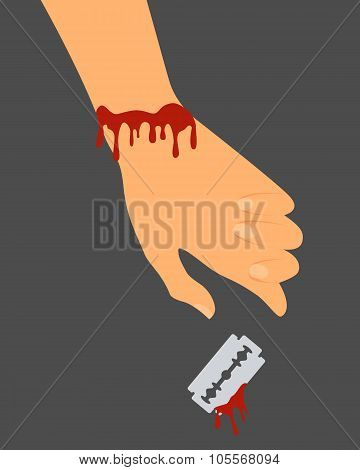 Suicide. The cut veins. The hand with the blade in the blood. Vector illustration