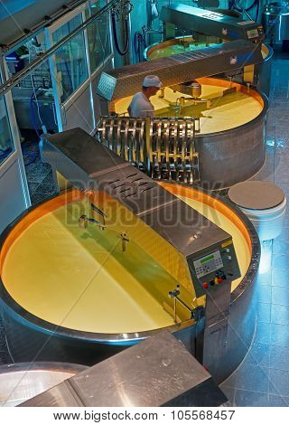 Cheese Processing Vats At The Gruyere Cheese Factory
