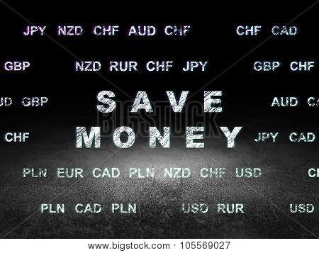 Banking concept: Save Money in grunge dark room