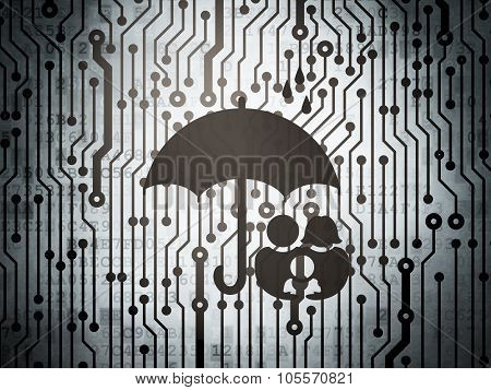 Security concept: circuit board with Family And Umbrella