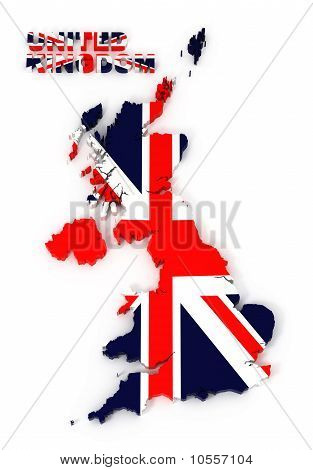 Uk, United Kingdom Map with Flag, Isolated on White with Clipping Path