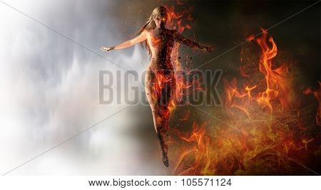 Magical woman summoning fire