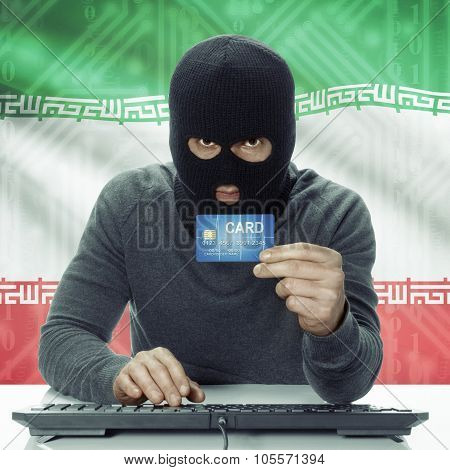 Dark-skinned Hacker With Flag On Background Holding Credit Card - Iran