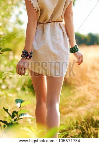 Boho Woman Walks In The Garden, Outdoors. Enjoying Nature Relax