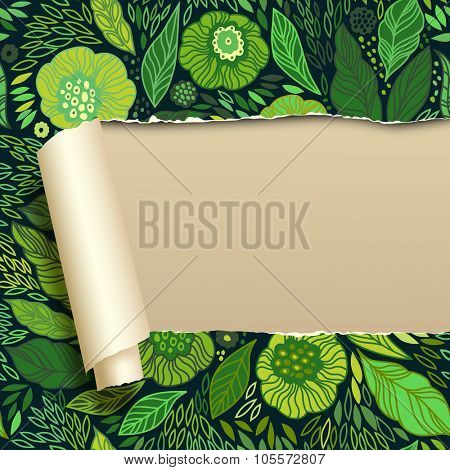 Ripped paper with green floral ornament