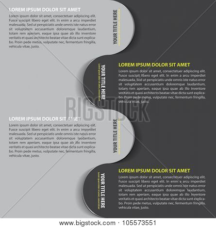 Gray vector background with four steps bookmarks for text