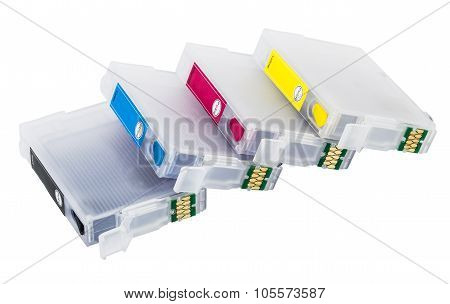 Four Empty Refillable cartridges For Colour Inkjet Printe