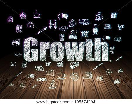 Business concept: Growth in grunge dark room