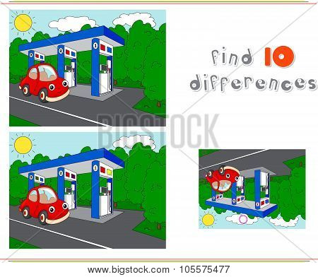 Gas Or Petrol Station On The Road With Car. Educational Game For Kids: Find Ten Differences