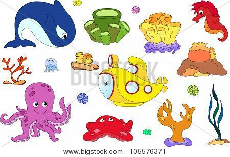 Underwater Set. Ocean Inhabitants And Submarine. Octopus, Jellyfish, Starfish, Sea-horse, Reefs And