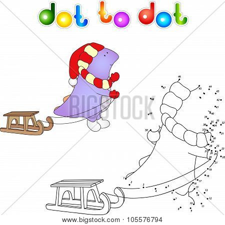 Cartoon Purple Dragon With Sledge. Vector Illustration. Dot To Dot Game For Kids
