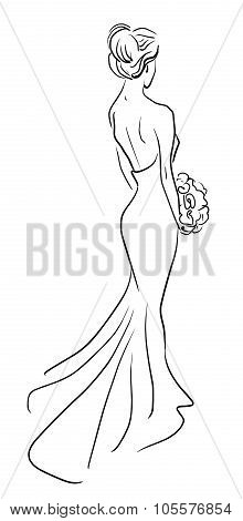 bride back with bouquet of flowers