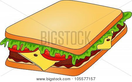 Sandwich. Bread With Cheese, Tomato, Meat And Salad. Fast Food