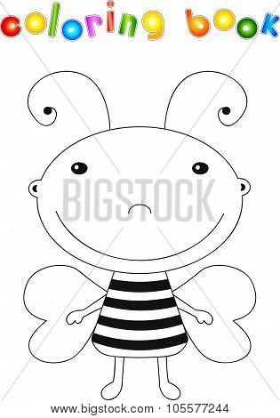 Funny Cute Cartoon Bee. Educational Coloring Book