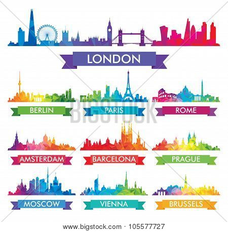 City Skyline Of Europe Colorful Vector Illustration