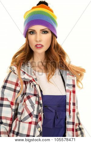 Woman With Red Hair In Coveralls And Hat Stand Close