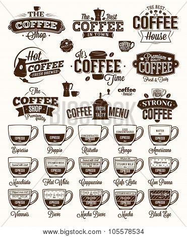 Coffee Label, Logo And Menu