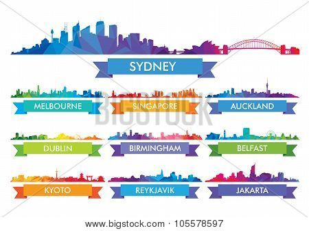 Colorful ?ity Skyline Australia And The Island Country