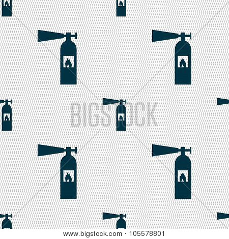 Fire Extinguisher Icon Sign. Seamless Abstract Background With Geometric Shapes.