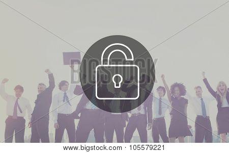 Unlock Protect Padlock Protection Concept