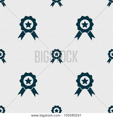 Award, Medal Of Honor Icon Sign. Seamless Abstract Background With Geometric Shapes.