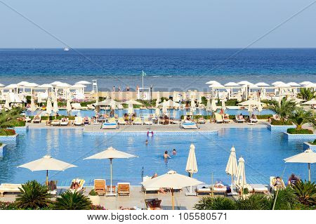 Hurghada, Egypt -  December 3: The Tourists Are On Vacation At Luxury Hotel On December 3, 2012 In H
