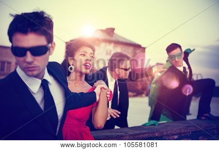 Action Scene of Business People Saving Woman Concept