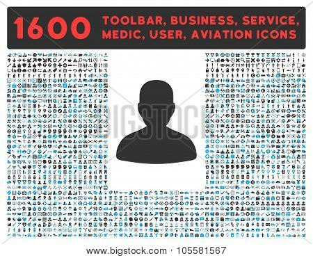 Avatar Icon with Large Pictogram Collection