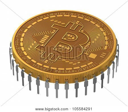 Bitcoin Microchip On White Background