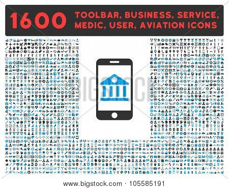 Mobile Bank Icon with Large Pictogram Collection
