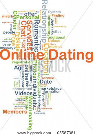 Background concept wordcloud illustration of online dating