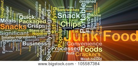 Background concept wordcloud illustration of junk food glowing light