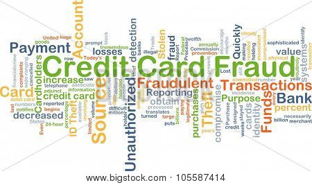 Background concept wordcloud illustration of credit card fraud