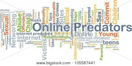 Background concept wordcloud illustration of online predators