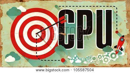 CPU Word on Poster in Grunge Design.