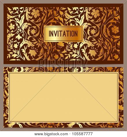 Horizontal luxury invitation with a pattern of stylized field of golden flowers on a brown backgroun