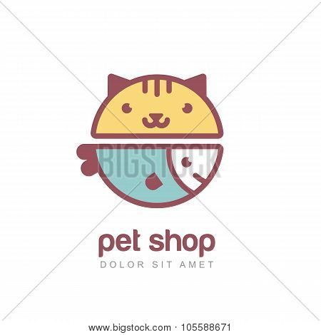 Flat Style Vector Colorful Illustration Of Funny Muzzle Of Cat And Smiling Fish.