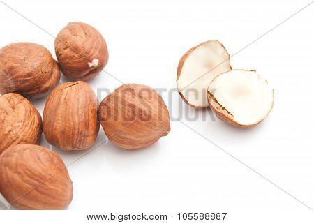 Tasty Hazelnuts On White