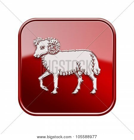 Aries Zodiac Icon Red, Isolated On White Background