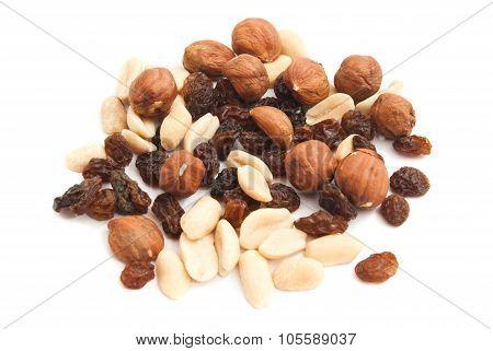 Hazelnuts, Peanuts And Raisins
